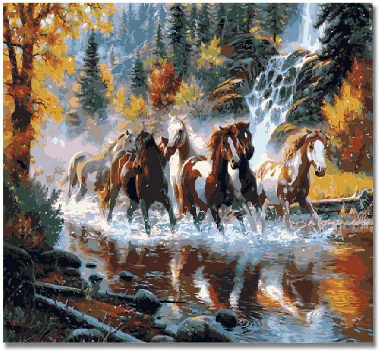 hermoso Diy Pintura Digital Horses,60X75Cm Pintura Digital Lienzo Arte Arte Arte De La Parojo Obra De Arte Pintura De Paisaje Sala De EEstrella En Casa Oficina Decoración De Navidad Decoración Regalo De Los Niños Adultos  mejor vendido