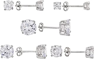 JTV-White Cubic Zirconia Rhodium Over Sterling Silver Earrings Set Of 5 15.74ctw