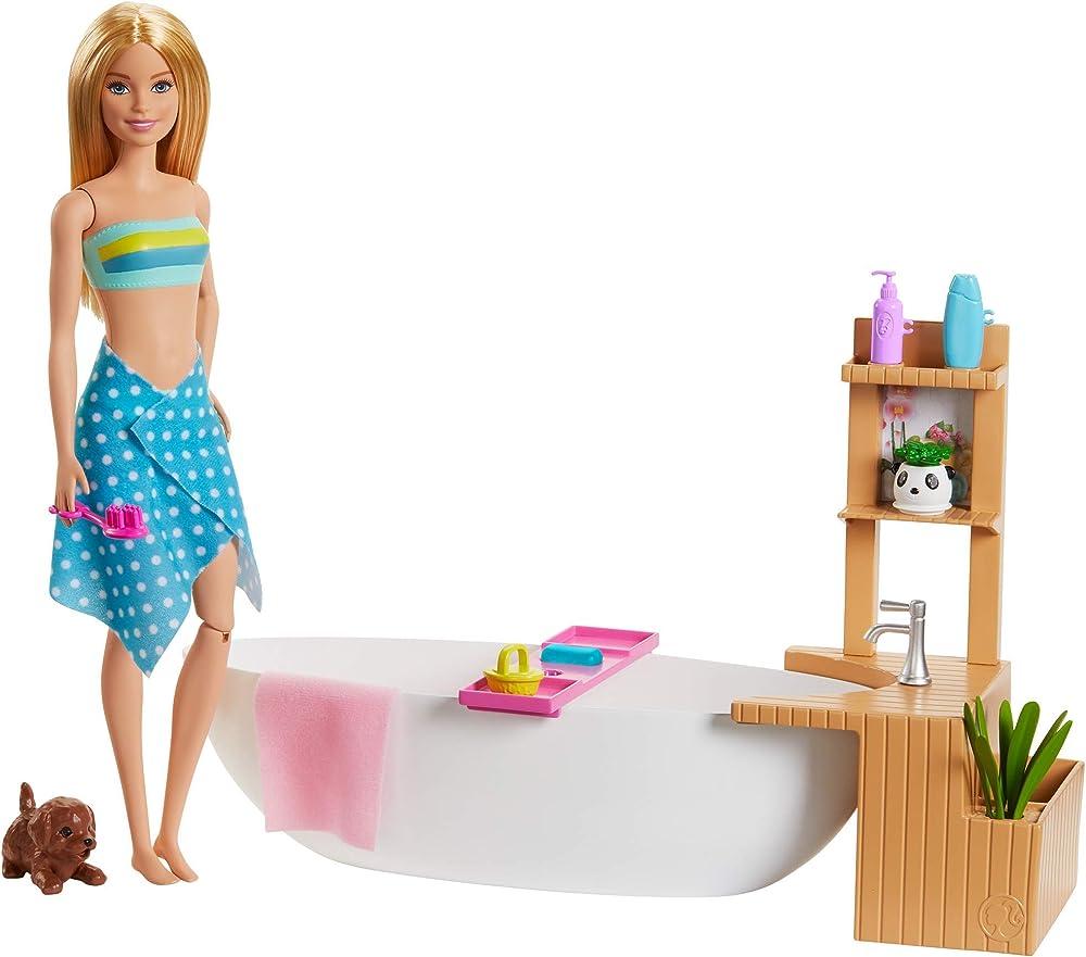 Barbie, fizzy bath  barbie ,bambola con vasca da bagno e accessori, GJN32