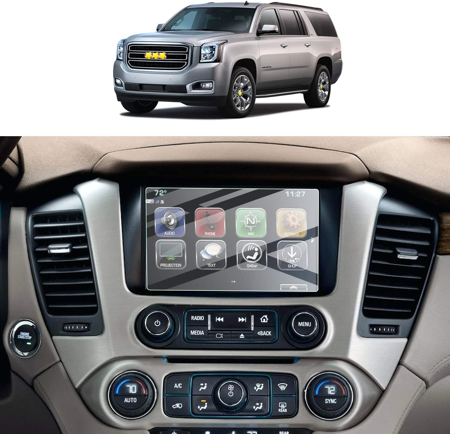 Financial sales sale Screen Protector Foils Max 65% OFF for 2015-2020 Yukon Dis Navigation XL 8In