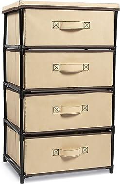 Juvale 4-Tier Dresser Drawer Organizer Storage for Clothes (16.5 x 13 in Brown)