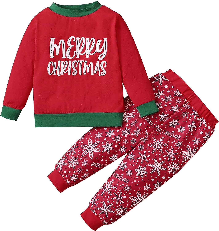 DEFAHN Toddler Baby Christmas Outfit Boy Girl Long Sleeve Shirt Top + Snowflake Pants Pjs Set Fall Winter Clothes