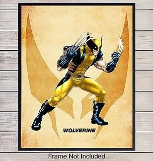 Wolverine Superheroes Wall Art Print - Home Decor for Boys, Kids Room or Den - Great Gift for Superman, Batman, Spiderman, Captain America, Iron Man, Marvel, DC Comic Books Fans- 8x10 photo - Unframed