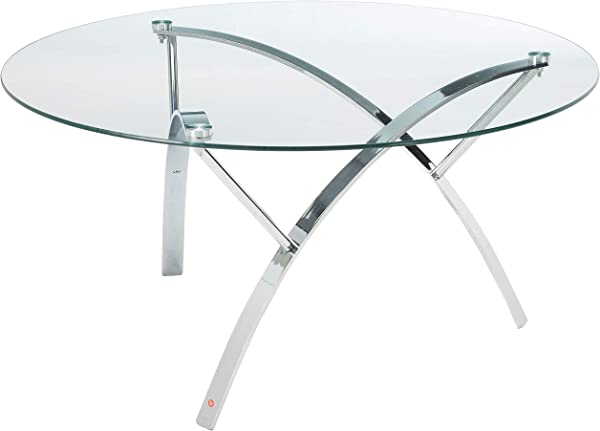 Great Deal Furniture 295400 Davina Tempered Glass Round Coffee Table W Chrome Legs