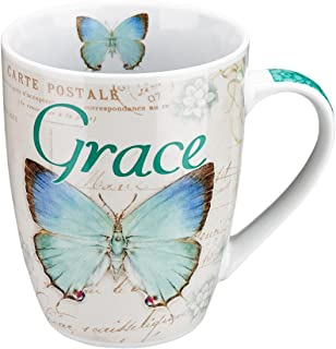 Amazing Grace Butterfly Mug – Botanic Teal and Blue Butterfly Coffee Mug w/ Ephesians 2:8, Bible Verse Mug for Women and Men – Inspirational Coffee Cup and Christian Gifts (12-ounce Ceramic Cup)