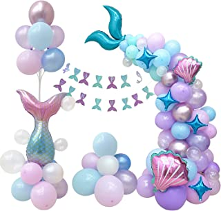 CozofLuv 121Pcs Mermaid Balloon Arch Kit| Under The Sea Party Supplies| Mermaid Tail Balloons| Mermaid Party Decorations| ...