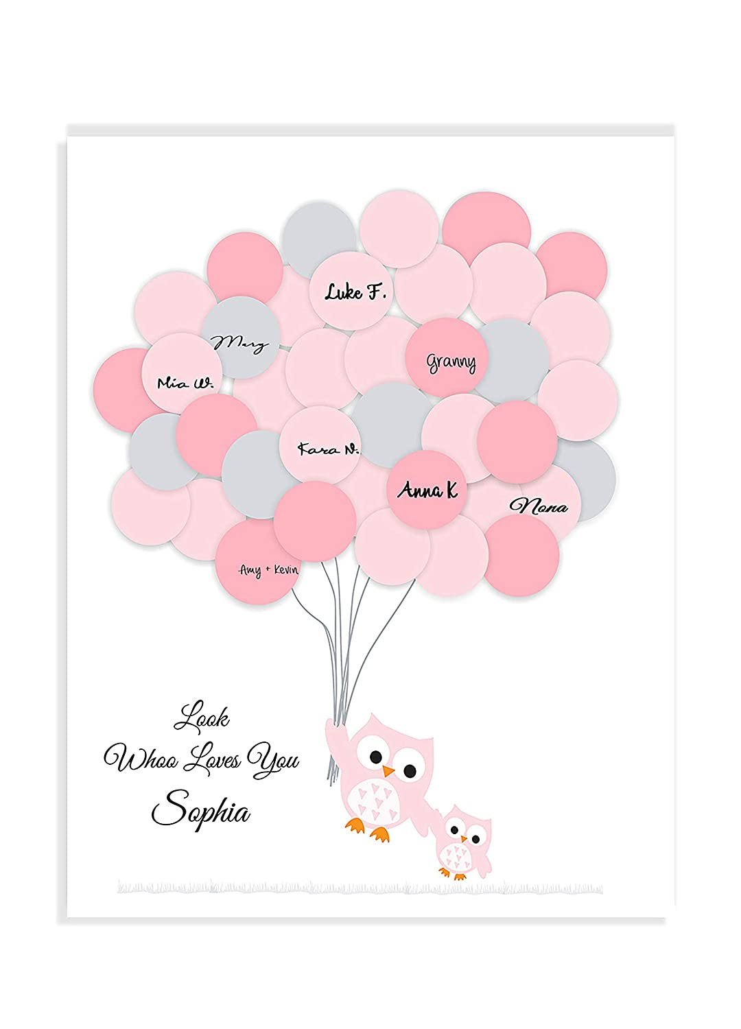 Baby Shower Ranking TOP17 Guestbook Owl alternative print balloon Low price baby shower
