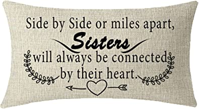 NIDITW Great Gift to Sister Side by Side or Miles Apart Sisters Waist Lumbar Cotton Linen Cushion Cover Pillow Case Cover Home Chair Couch Decor Rectangular 12x20 inches