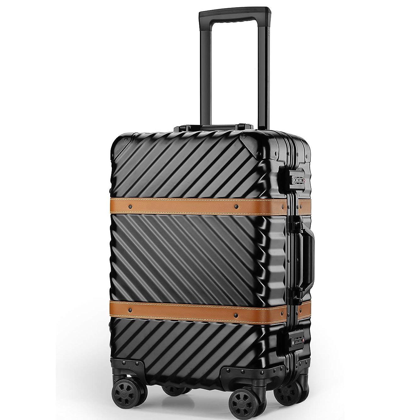 スプーン計算する心理学(P.I.) 旅行用 スーツケース キャリーケース TSAロック 半鏡面仕上げ アライン加工 アルミフレーム レトロ 旅行 出張 軽量 静音 ファスナーレス 保護カバー付き