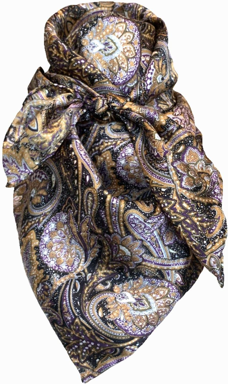 Wild Rag Silk Navy Gold Purple