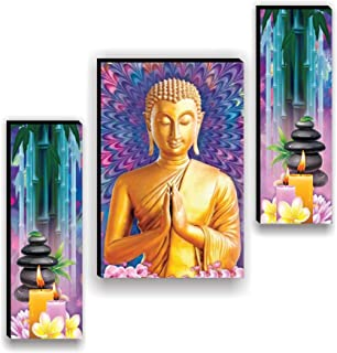 SND Art Set of 3 Lord Buddha UV Textured MDF Frame Painting for Home Decoration(12 X 4.5 inch,12 X 9 inch, 12 X 4.5 inch) ...