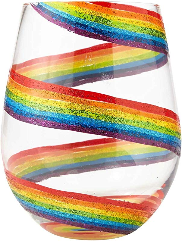 Enesco Designs By Lolita Hand Painted Artisan 20 Oz Stemless Wine Glass Rainbow Multicolor