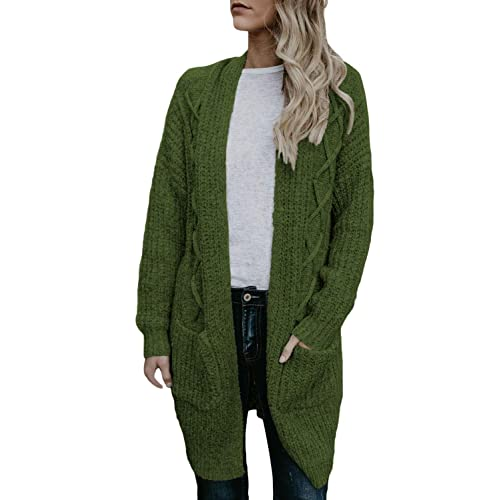 db63daa850b9 Elapsy Womens Open Front Long Sleeve Chunky Cable Knit Long Cardigans  Sweater Pockets