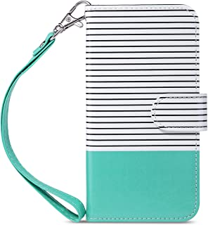 ULAK iPhone 7 Wallet Case/iPhone 8 Wallet Case, iPhone 7/8 Card Holder Case with Protective Stand Cover for Apple iPhone 7 / iPhone 8 4.7 inch, Mint Minimal Stripes