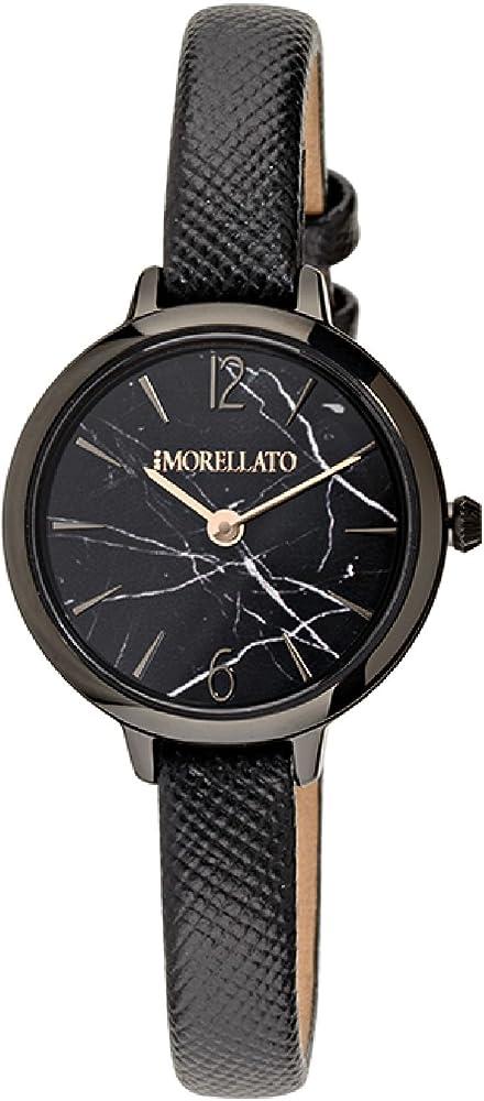 Morellato, orologio analogico al quarzo per donna, con cinturino in pelle e cassa in acciaio e pvd nero R0151140512
