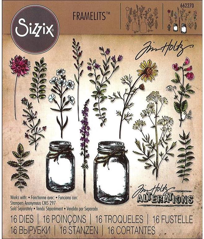 Sizzix Die Set Flower Weekly update Jar by Credence Tim Pack Holtz 16 Multi Color