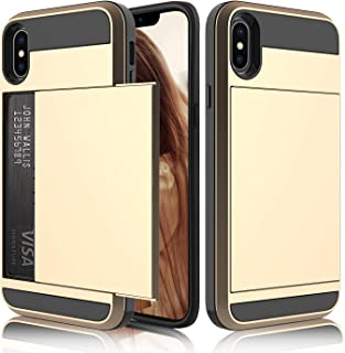 Elegant Choise Compatible with iPhone Xs Max Case, Hard Rubber Hybrid Bumper Armor Dual Layer Wallet Case Shockproof Protective Case Cover with Credit Card Slots Holder Design(Gold)