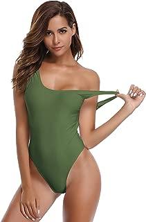 SHEKINI Costumi da Bagno Donna Un Pezzo Halter Classico Triangolo Taglio Alto Costume Intero Donna Mare Zipper Frontale Sportiva Colore Solido Swimwear Bikini da Spiaggia