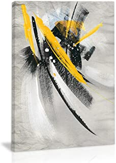 Black and White Yellow Modern Abstract Wall Art Decor Canvas Painting Kitchen Prints Pictures for Home Living Dining Room