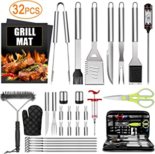 32PCS BBQ Grill Accessories Tools Set, Stainless Steel Grilling Tools with Carry Bag, Thermometer, Grill Mats for Camping/Backyard Barbecue, Grill Tools Set for Men Women