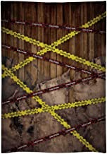 Funnytree 7X5FT Durable Fabric Warning Line Photography Backdrop for Halloween Dress Up Party Selfie Photo Background Police Danger Sign Wood Banner Scary Night Do Not Cross Photocall photobooth