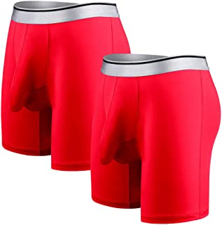 Ouruikia Men's Underwear Silky Smooth Boxer Briefs Long Leg Quick Dry Boxer Briefs with Separate Pouch