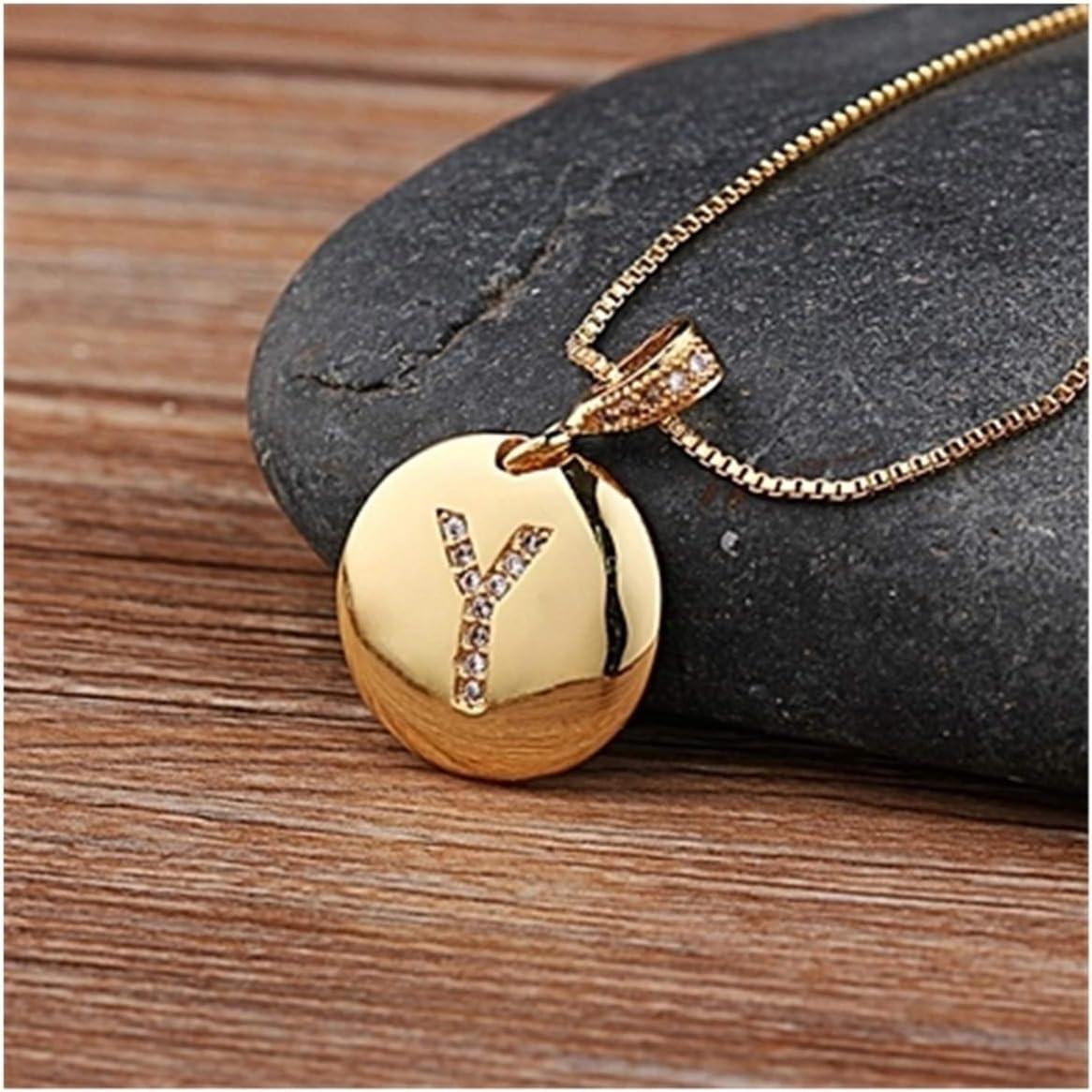 WAZG SYBLD 26 Letters Necklace (Metal Color : Y)