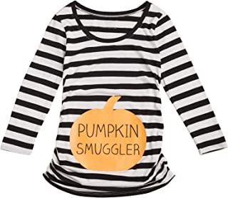 Women's Maternity 3/4 Sleeve Side Ruched Halloween Graphic Tee Shirt