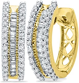 Mia Diamonds 10kt Yellow Gold Womens Round Baguette Diamond Hoop Earrings (.50cttw) (I1-I2)