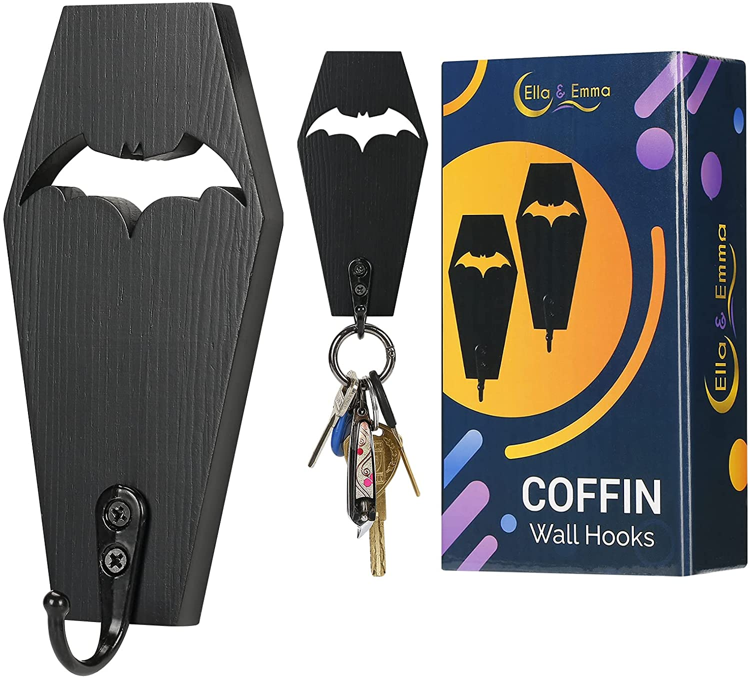 Coffin Key Holder (Pack of 2), Spooky Gothic Home Decor for Wall - Rustic Black Wooden Hanger Bat Hooks for Keys, Mugs, Purse - Wall Mounted Mini Coffin Hangers Decoration for Bat Shelf, Coffin Shelf