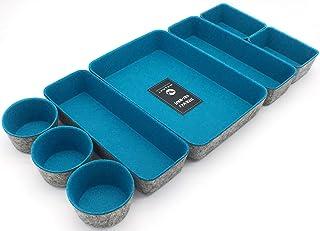 $49 » Welaxy Office Supplies Drawer Organizers Trays Storage Bins Drawers dividers Storage bin, Pack -8 (Turquoise)