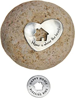 Whitney Howard Designs Home is Where The Heart is Housewarming Gift - Decorative Stone with Pewter Plate and Blessing Ring