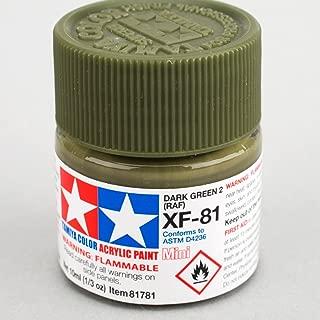 Tamiya America, Inc Acrylic Mini XF-81 Dark Green 2 RAF 10ml Bottle, TAM81781