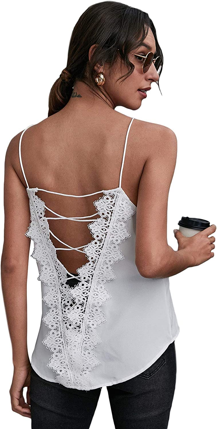 Romwe Women's Sleeveless Criss Cross Backless V Neck Solid Lace Cami Tank Tops
