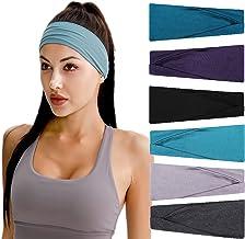 Hoofdband voor dames, elastische katoenen brede haarband, antislip, ademende zweetband, sporthoofdbanden voor hardlopen, w...