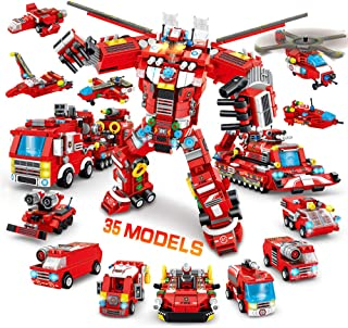 VATOS City Fire Robot Building Toys - 836 PCS 35 Models STEM Fire Truck Construction Set for Boys Girls Age 6 7 8 9 10 11 12 Years Old Vehicles Kits Building Blocks Best Gift for Kids