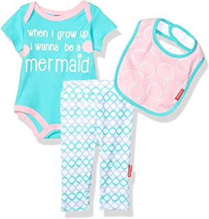 Fisher-Price 3 Piece Short-Sleeve Bodysuit, Pant and Bib Layette Set