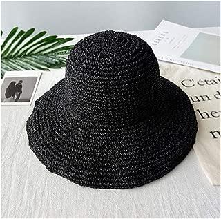 Fashion Women Summer Sun Visor Sunhat Panama Boater Floppy Bucket Cap Black m (56 58cm)