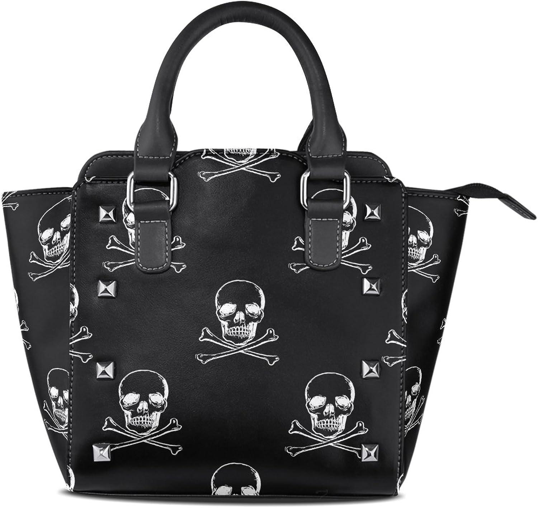 My Little Nest Women's Top Handle Satchel Handbag Black White Skulls Crossed Shinbone Ladies PU Leather Shoulder Bag Crossbody Bag