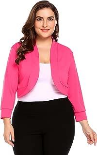 IN'VOLAND Women's Plus Size Soft Knit Rounded Hem Stretch Bolero Shrug 3/4 Sleeve Open Front Cropped Cardigan