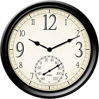 Taylor Precision Products Springfield Decorative Outdoor Clock with Thermometer, 14-Inch