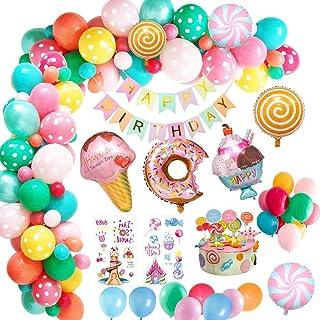 OKJ Candyland Birthday Party Decorations, Donut Birthday Party Supply with Happy Birthday Banner, Candy Donut Ice Cream Fo...