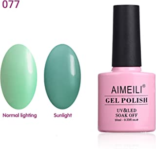 AIMEILI Soak Off UV LED Sun Play Collection Light Color Changing Gel Nail Polish - Mint Effect (077) 10ml
