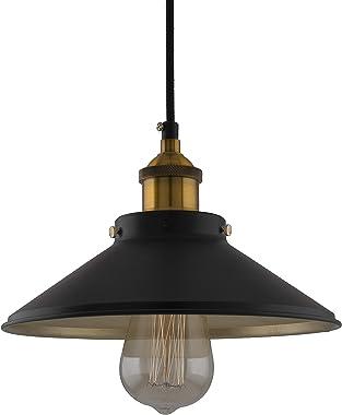 Homesake Single Black Cone with Antique Gold Holder, Pendant Hanging Lights Ceiling Decorative Vintage - Bulb Included