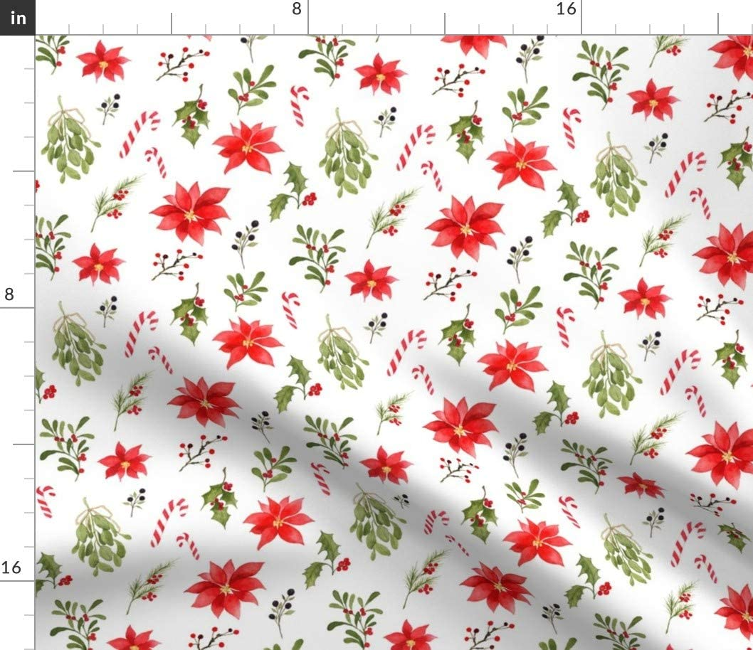 Spoonflower Fabric - 特売 Christmas Watercolor Candy Holiday ショップ Holly Ca