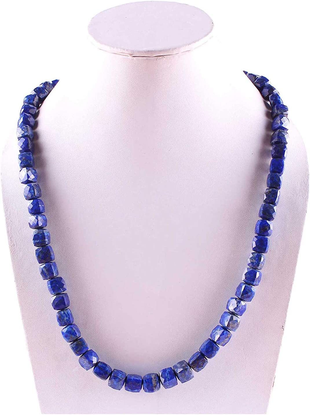 Natural Gemstone Max 49% OFF Lapis Lazuli Faceted Beaded Max 79% OFF Women for Necklace