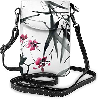 Women Small Cell Phone Purse Crossbody,Natural Sacred Bamboo Stems Cherry Blossom Japanese Inspired Folk Print