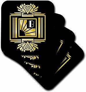 3D Rose Art Deco Monogram Letter B Effect Background Soft Coasters, Gold/White/Black