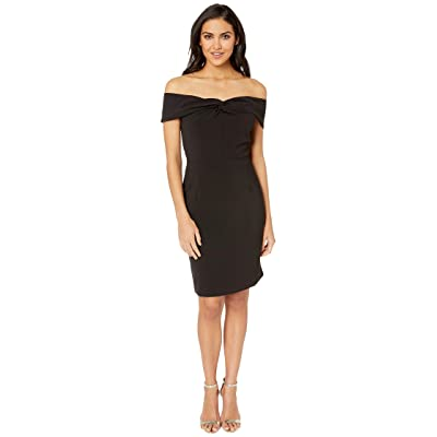 Adelyn Rae Gail Woven Off the Shoulder Sheath Dress (Black) Women