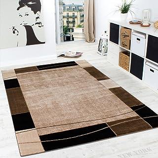 Alfombra De Diseño para Sala De Estar Alfombra con Bordura Moderna Marrón Beige, tamaño:60x100 cm